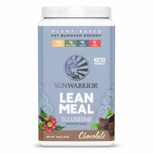 Sunwarrior Illumin8 Lean Meal Chocolate Superfood Shake Powder Perspective: front