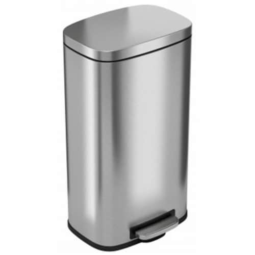 iTouchless PC30RSS 30 ltr SoftStep Stainless Steel Step Pedal Kitchen Trash Can Perfect for O Perspective: front