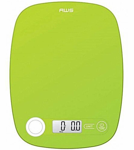 American Weigh Scales 5K Low Profile Kitchen Scale - Lime Perspective: front