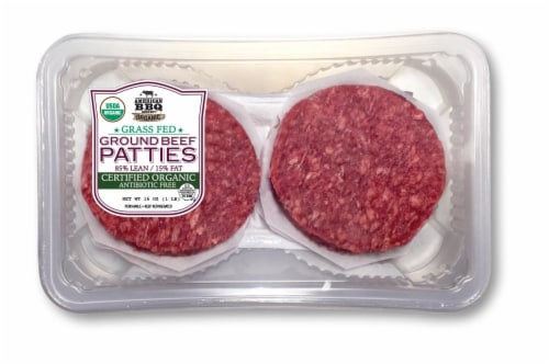 American BBQ Organic Ground Beef Patties 85 / 15 Perspective: front