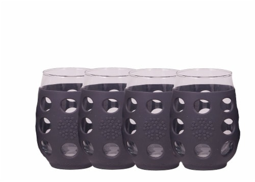 Lifefactory  Wine Glasses with Silcone Sleeves - Carbon Perspective: front