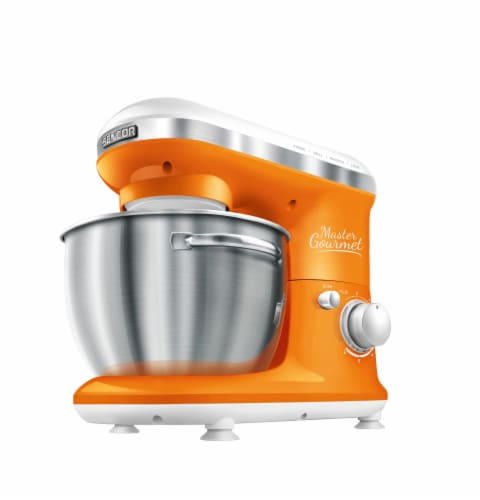 Sencor Stand Mixer with Pouring Shield - Orange/Silver Perspective: front