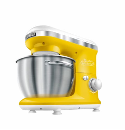 Sencor Stand Mixer with Pouring Shield - Yellow/Silver Perspective: front