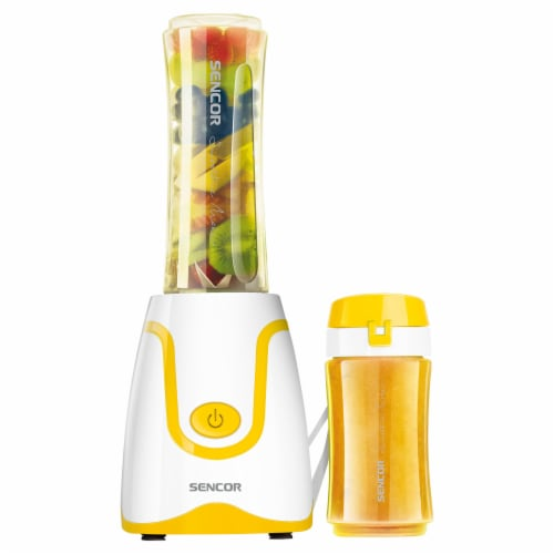 Sencor Smoothie Blender & Bottles - White/Yellow Perspective: front