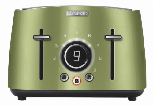 Sencor 4-Slot Toaster with Digital Button and Rack - Light Green Perspective: front