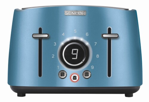 Sencor 4-Slot Toaster with Digital Button and Rack - Blue Perspective: front