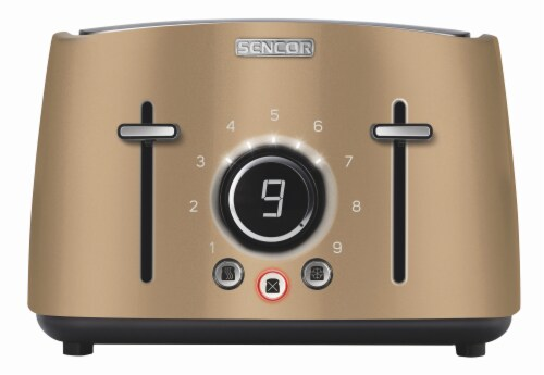 Sencor 4-Slot Toaster with Digital Button and Rack - Champagne Perspective: front