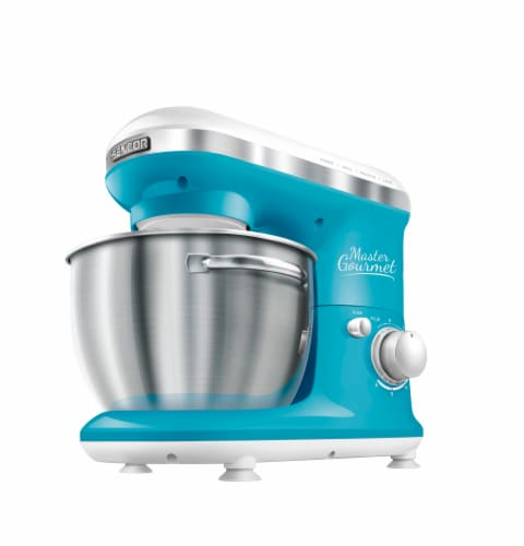 Sencor Stand Mixer with Pouring Shield - Turquoise Perspective: front