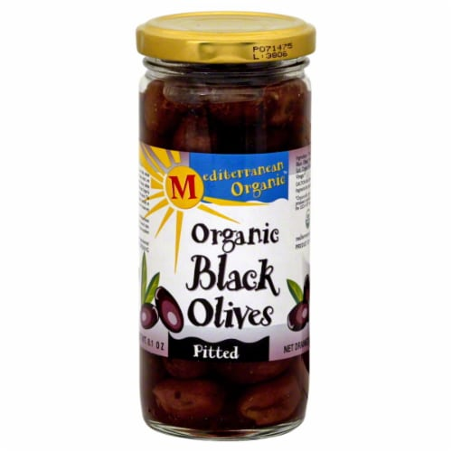 Mediterranean Organic Organic Pitted Black Olives Perspective: front