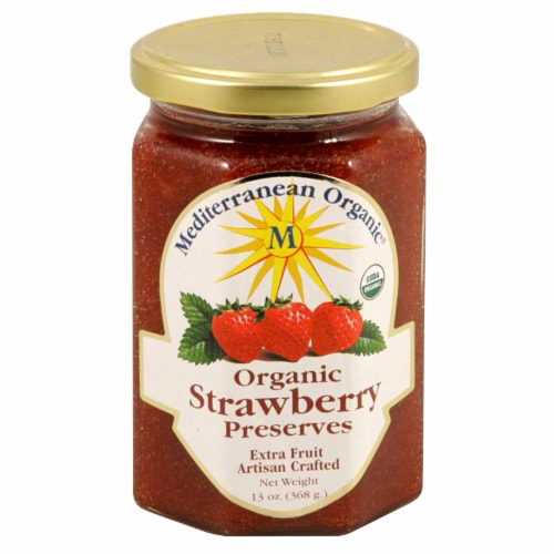 Mediterranean Organic Strawberry Preserves Perspective: front