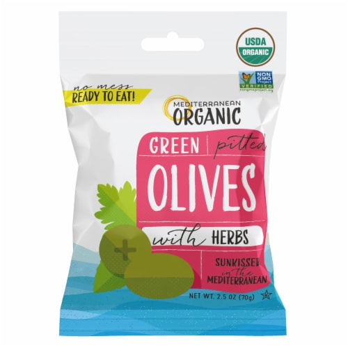 Mediterranean Organic Green Pitted Olives Perspective: front