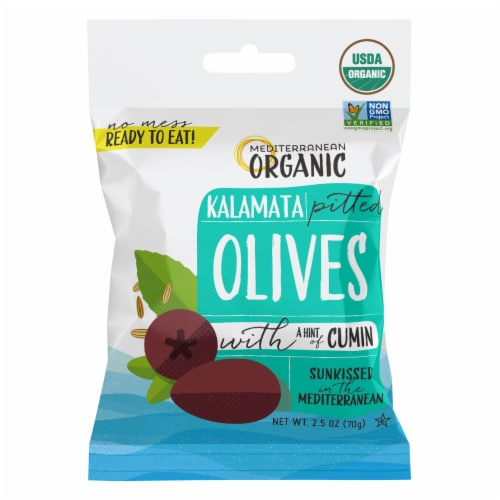 Mediterranean Organic Kalamata Pitted Olives Perspective: front