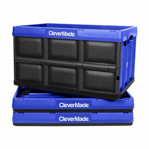 CleverMade Durable Stackable 62L Collapsible Storage Bins, Royal Blue (3-Pack) Perspective: front