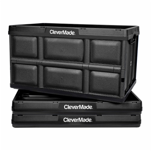 CleverMade Durable Stackable 62L Home Collapsible Storage Bins, Black (3-Pack) Perspective: front