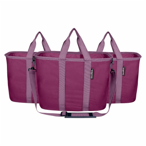 CleverMade 20L EcoBasket Grocery Tote Bags with Shoulder Strap, Plum (3 Pack) Perspective: front