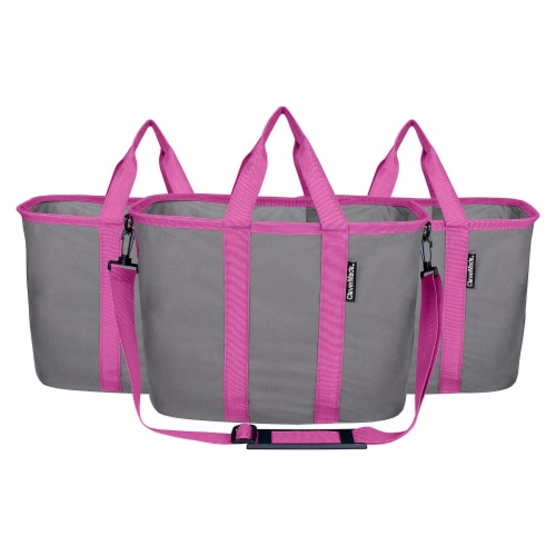 CleverMade 20L EcoBasket Grocery Tote Bags w/ Shoulder Strap, Charcoal (3 Pack) Perspective: front