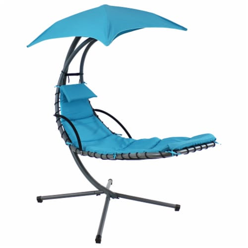 """Sunnydaze Teal Hanging Floating Chaise Lounger Swing Chair with Umbrella - 80"""" Perspective: front"""