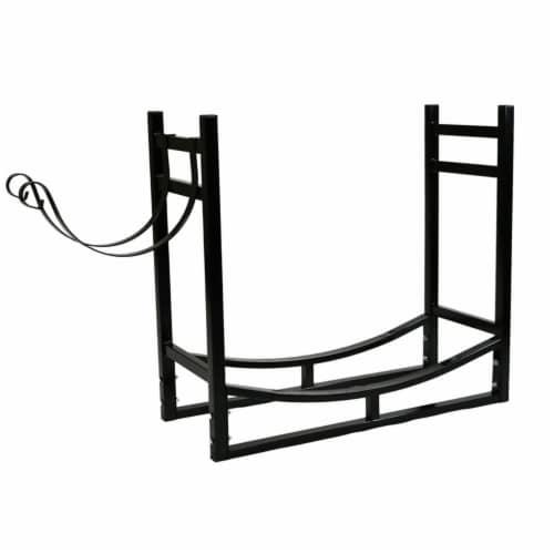 """Sunnydaze Log Rack and Kindling Holder 30"""" Steel with Black Finish Wood Storage Perspective: front"""