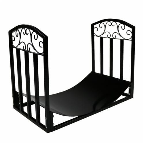 Sunnydaze 2' Indoor/Outdoor Firewood Log Rack - Steel Fireplace Storage Holder Perspective: front