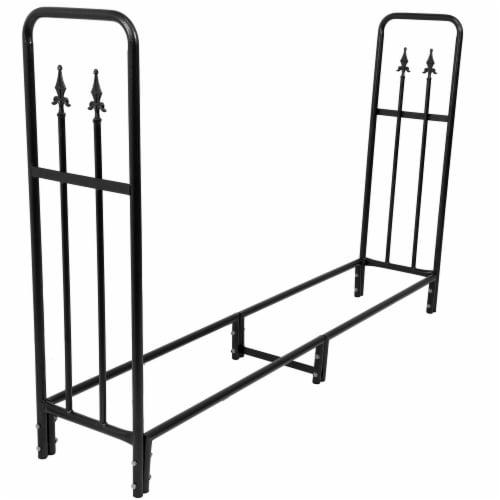Sunnydaze Log Rack 6' Black Steel Indoor Outdoor Decorative Firewood Holder Perspective: front