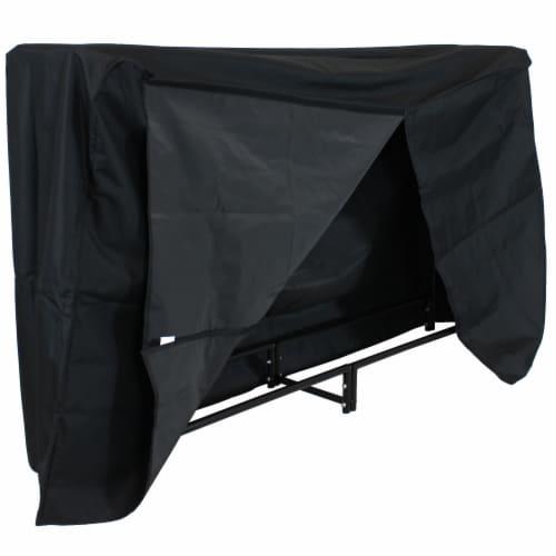 Sunnydaze Firewood Steel Log Holder Storage Holder with Waterproof Cover - 6' Perspective: front