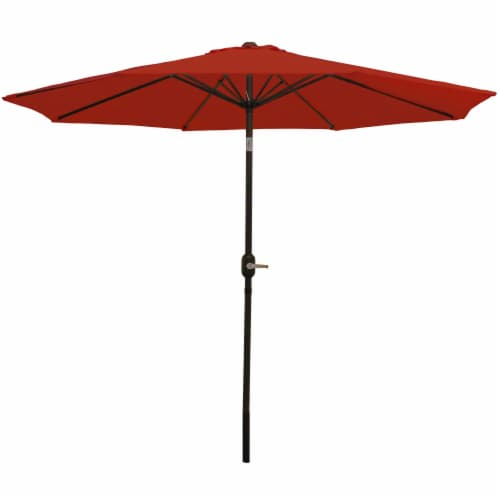 Sunnydaze Aluminum Patio Market Umbrella with Tilt and Crank - 9' - Burnt Orange Perspective: front