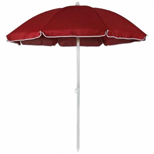 Sunnydaze Beach Umbrella w/ Tilt Function Shaded Comfort - Steel - Red - 5' Perspective: front