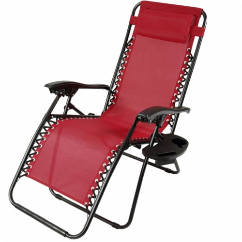 Sunnydaze Zero Gravity Lounge Chair with Detachable Pillow and Cup Holder - Red Perspective: front