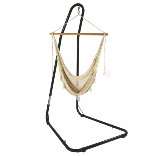 Sunnydaze Extra-Large Natural-Color Mayan Hammock Chair with Adjustable Stand Perspective: front
