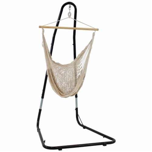 Sunnydaze Large Natural-Color Mayan Hammock Chair with Portable Adjustable Stand Perspective: front