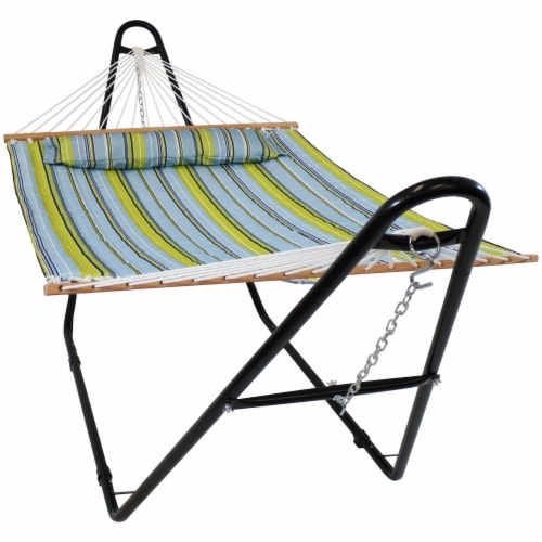 Sunnydaze Blue and Green Quilted Fabric Hammock with Multi-Use Universal Stand Perspective: front