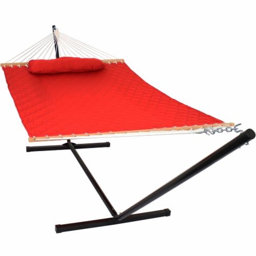 Sunnydaze 2-Person Quilted Fabric Spreader Bar Hammock with 12' Stand - Red Perspective: front