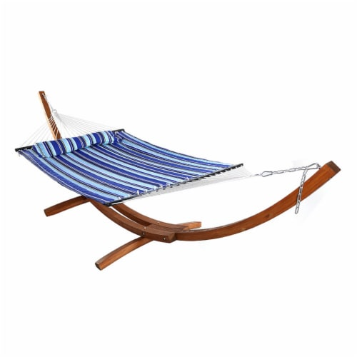 Sunnydaze Quilted 2-Person Double Hammock with 13' Wood Stand - Catalina Beach Perspective: front