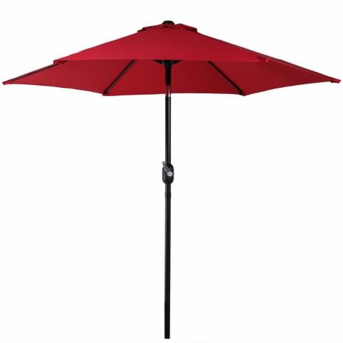 Sunnydaze Outdoor Patio Market Umbrella w/ Tilt & Crank - Aluminum - 7.5' - Red Perspective: front