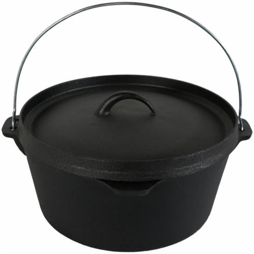 """Sunnydaze Large Cast Iron Deep Dutch Oven Pre Seasoned - Large 12"""" 8-Quart Pot Perspective: front"""