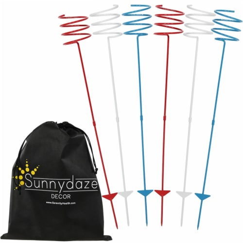 Sunnydaze Heavy-Duty Red White and Blue Outdoor Bottle Can Drink Holder - 6 PK Perspective: front