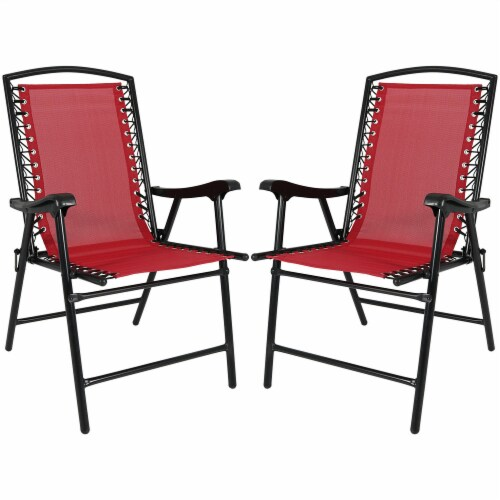 Sunnydaze Set of 2 - Red Mesh Outdoor Suspension Folding Patio Lounge Chairs Perspective: front