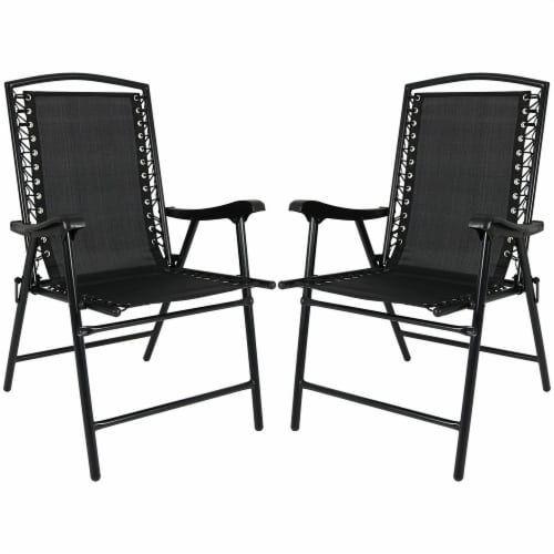 Sunnydaze Mesh Outdoor Suspension Folding Patio Lounge Chairs - Set of 2 - Black Perspective: front