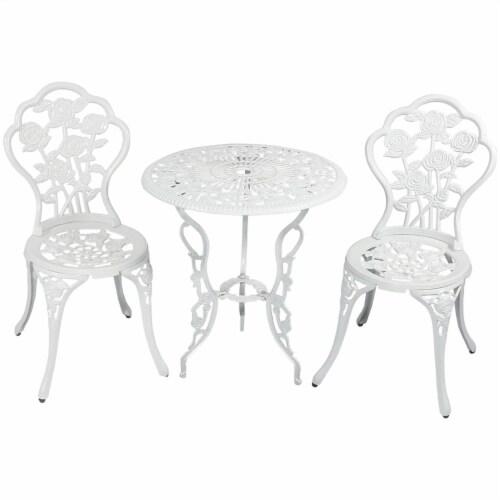 Sunnydaze 3-Piece White Flower Designed Cast Aluminum Patio Furniture Bistro Set Perspective: front