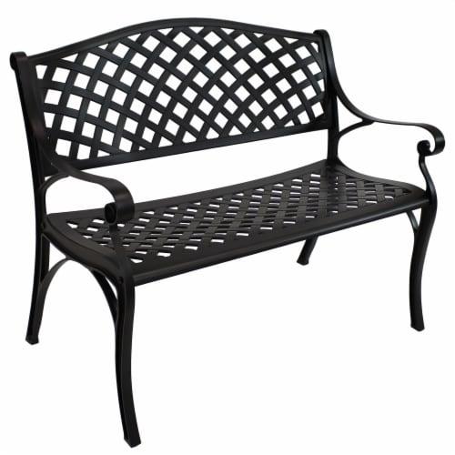Sunnydaze 2-Person Black Checkered Cast Aluminum Outdoor Patio Garden Bench Perspective: front