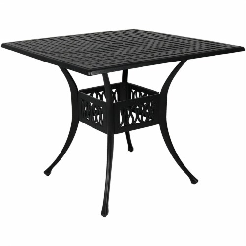 """Sunnydaze Black Heavy-Duty Cast Aluminum Outdoor Square Patio Dining Table - 35"""" Perspective: front"""