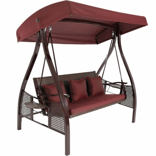 Sunnydaze Deluxe Steel Frame Maroon Cushioned Swing with Canopy and Side Tables Perspective: front
