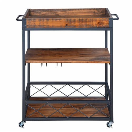 Utopia Alley Rustic  Industrial Bar Cart with Removable Top Tray  Space Saving Design Perspective: front