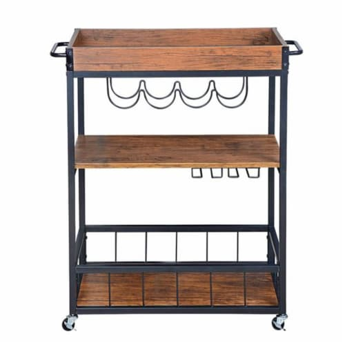 Utopia Alley Rustic  Industrial Bar Cart with Removable Top Tray Perspective: front