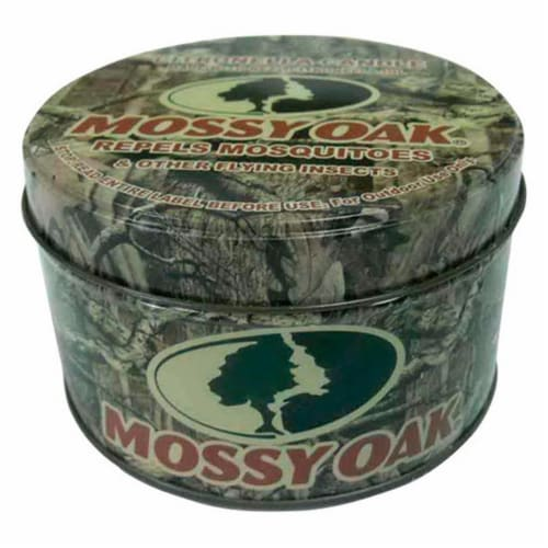 Mossy Oak Candle with Holder Wax For Mosquitoes/Other Flying Insects 8 oz. Perspective: front
