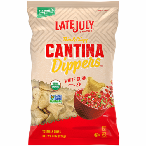 Late July White Corn Thins & Cantina Dippers Perspective: front