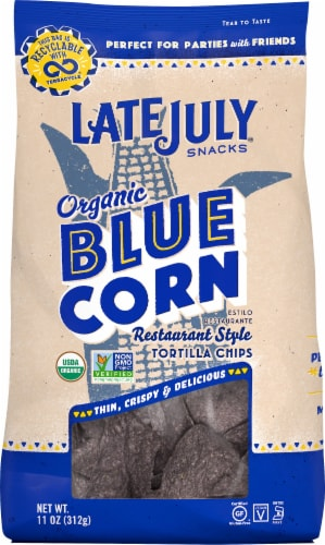 Late July Organic Blue Corn Restaurant Style Tortilla Chips Perspective: front