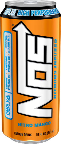 NOS Nitro Mango High Performance Energy Drink Perspective: front