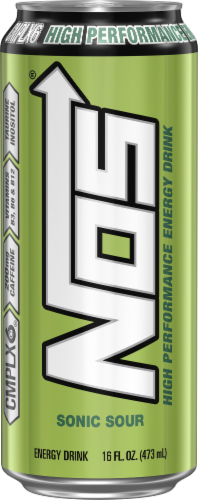 NOS Sonic Sour High Performance Fuel Energy Drink Perspective: front