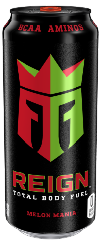 Reign Melon Mania Energy Drink Perspective: front